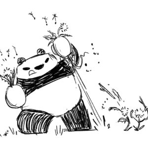 Panda fighting weed monsters