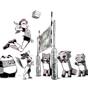 Volleyball, dog, panda, and Minecraft?