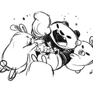 20200321_ScribbleTime_0007_PandaFightingBunniesOverFriedChicken